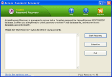 Access Password Recovery Screen shot