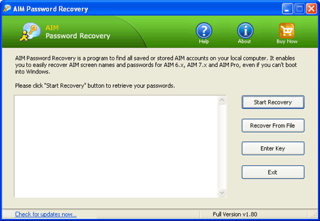 Click to view AIM Password Recovery screenshots