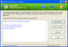 Click to view Password Recovery Bundle 2011 screenshot