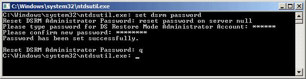 reset DSRM password