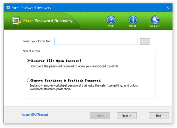 Click to view Excel Password Recovery 1.7 screenshot