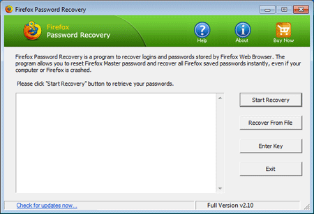 Firefox Password Recovery Screen shot