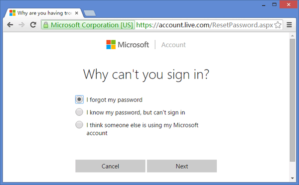 e.g. reset my microsoft account password