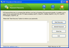 FTP Password Recovery tool to find lost or forgotten FTP passwords easily.