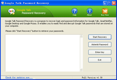 Click to view Google Talk Password Recovery 1.3 screenshot