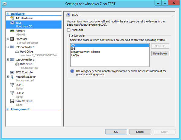 Change the boot order in Hyper-V