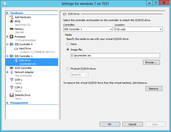 Mount ISO image to the DVD drive of your Hyper-V virtual machine
