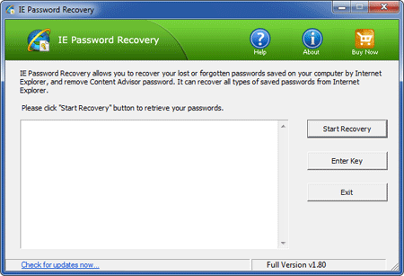 IE Password Recovery Screen shot