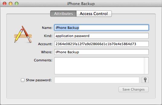 iphone encrypted backup password keychain