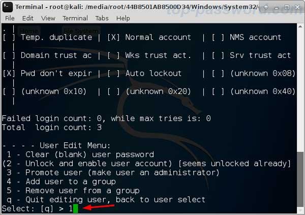reset windows 7 password kali linux