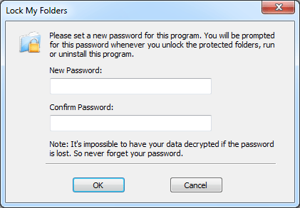 Set A New Password for Lock My Folders