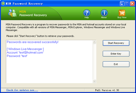 MSN Password Recovery, MSN Messenger Password Finder - find