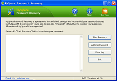 Click to view MySpace Password Recovery 1.3 screenshot