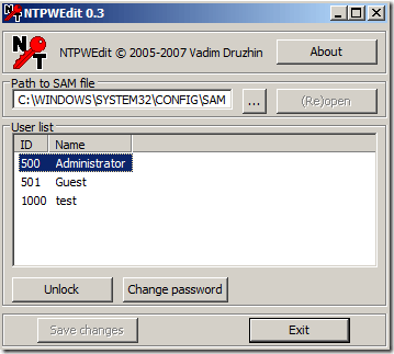 Reset Windows 7 Password with NTPWEdit