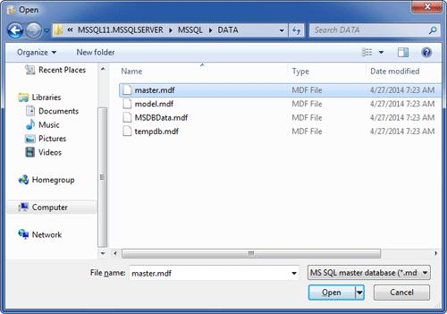 Select the SQL Server master database file