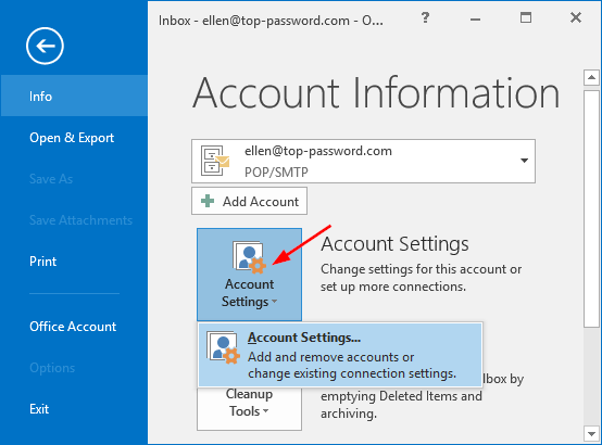 How to Change Outlook 2016 Password for Email Account or PST