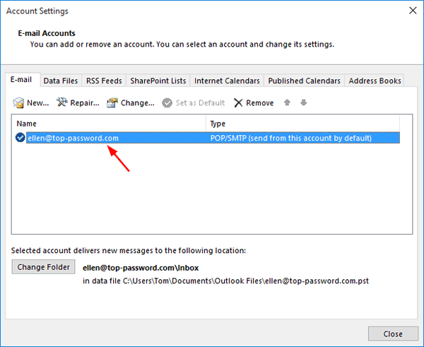 How to Change Outlook 2016 Password for Email Account or PST File
