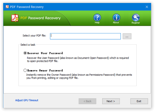 Recover PDF User Password