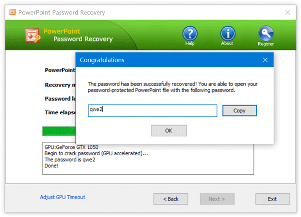 Recover your password successfully