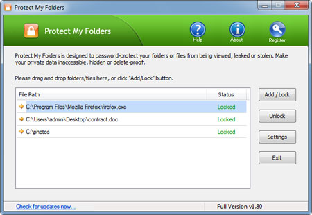 Screenshot of Protect My Folders 1.3