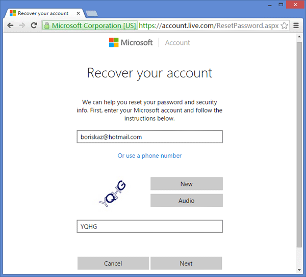 account live reset password xbox