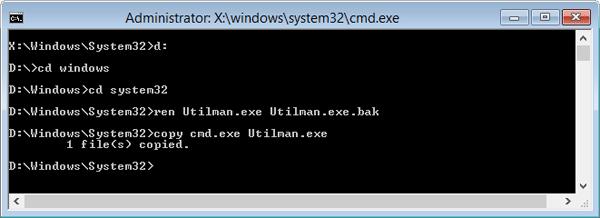 Replace the Utilman.exe