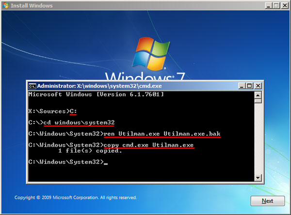 windows 7 home premium reset password