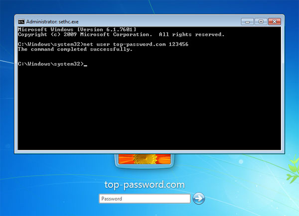 reset laptop password windows 7