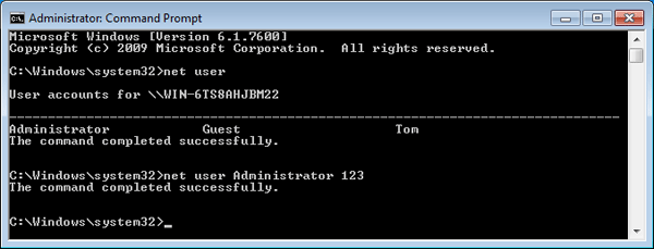 change windows password from command prompt