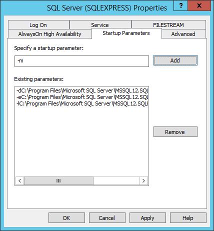 SQL Server 2014/2012 Startup Parameters