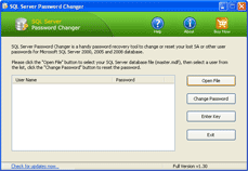 Click to view SQL Server Password Changer 1.3 screenshot