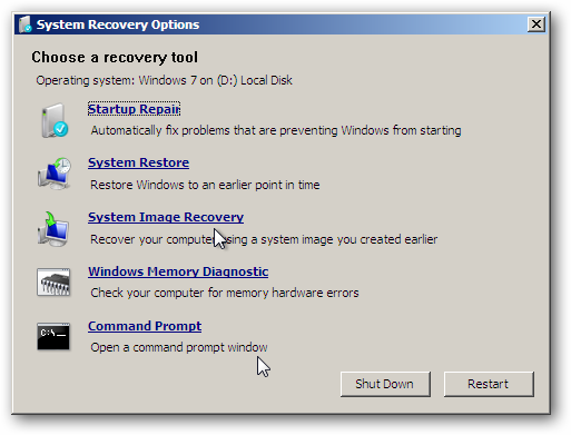 System Recovery Option