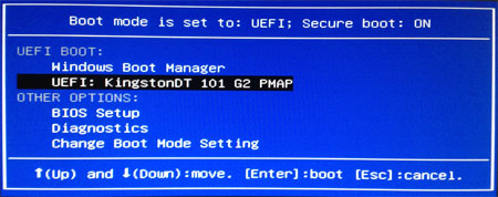 windows 8 boot from usb uefi