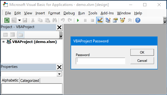 unlock vba project password excel 2013