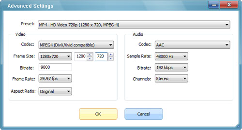 Video Convert Settings