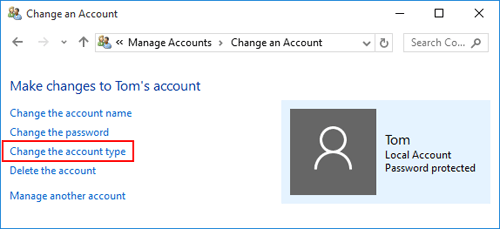 click the change the account type option from the left