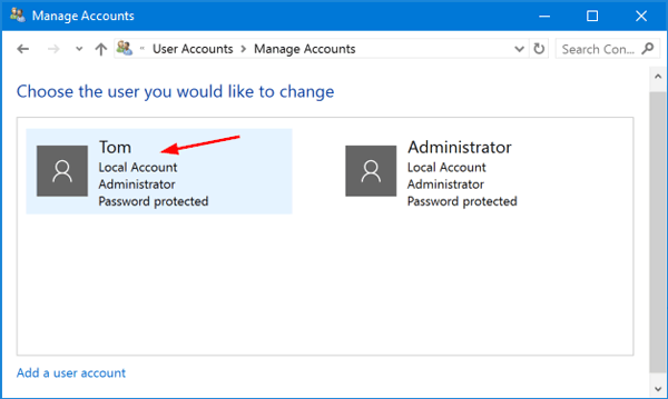 administrator username and password windows 10