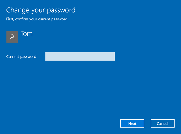 how to change windows 10 password
