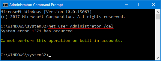 built in administrator account windows 10
