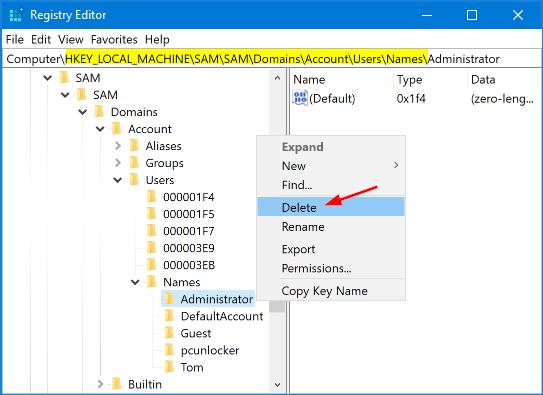 delete profile in windows 10 registry