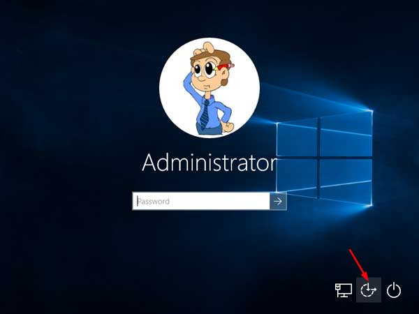 Windows 10 Ease of Access button