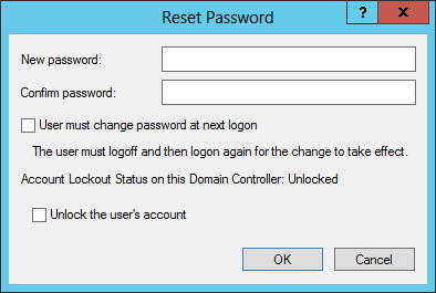 Enter new domain administrator password