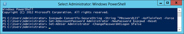 Reset domain password using PowerShell