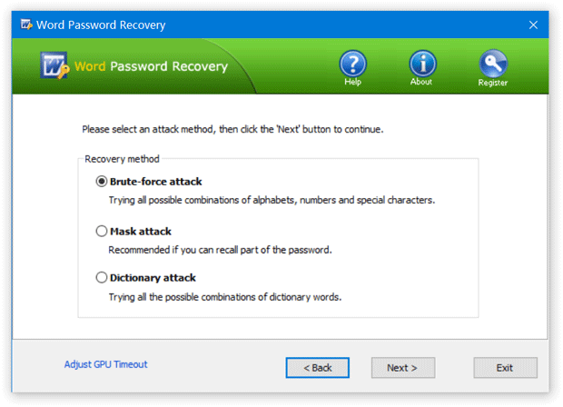 Word Password Recovery Method